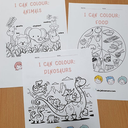 I Can Colour: Animals, Food and Dinosaurs (Digital Download)