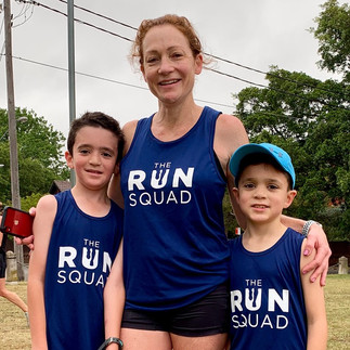 Kim and her boys. A running family