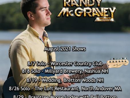 Randy McGravey Music: Live Gig Schedule August 2021