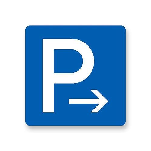 """Schild """"Parkplatz rechts"""""""