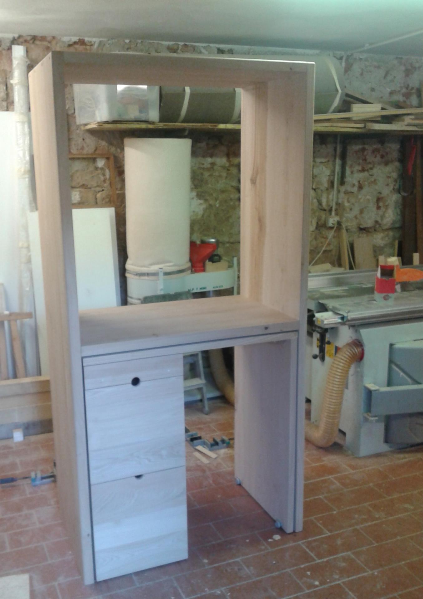 mobile sala con scrivania estraibile