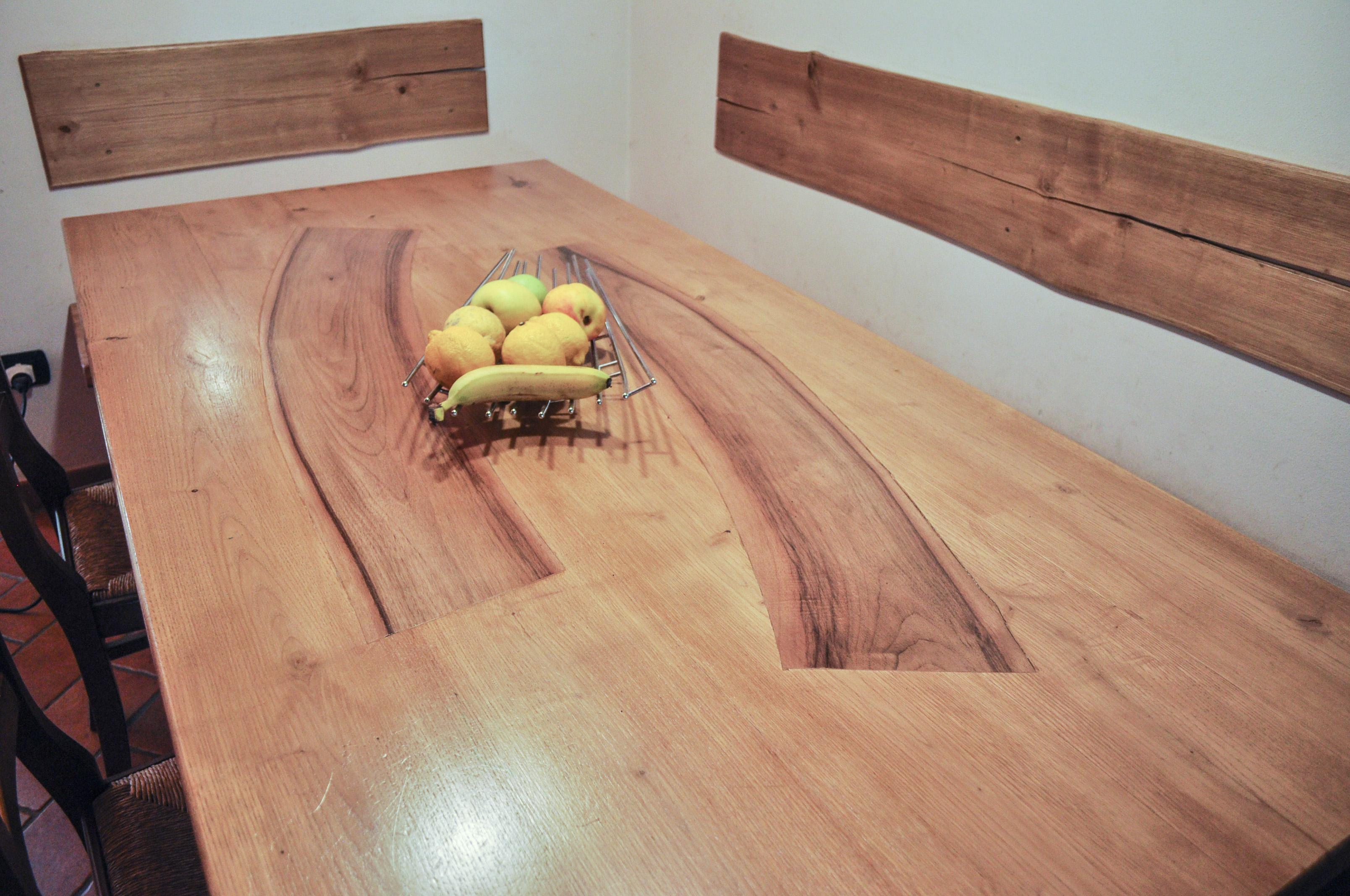 piano del tavolo in castagno