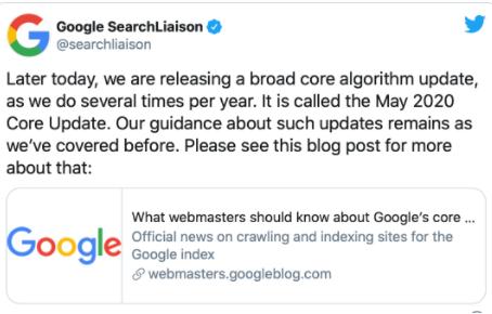 Google ha comenzado a actualizar su algoritmo de búsqueda principal (en pasado)