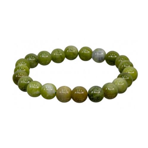 Chinese Jade   (Round Beads) Elastic Bracelet - Multi Sizes