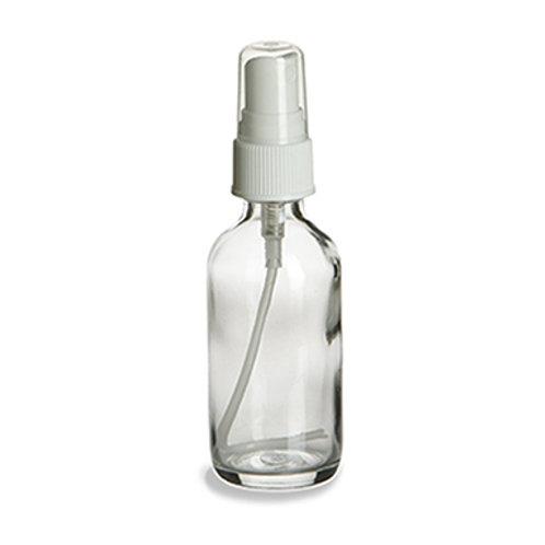 2 oz Clear Boston Round Glass Bottle with White Atomizer