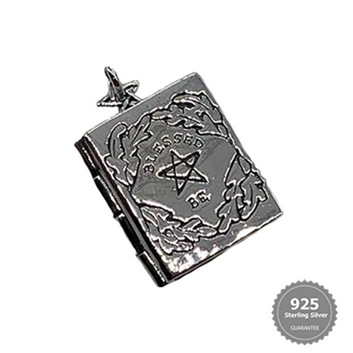 'Blessed Be' Pentacle Book of Shadows Silver Locket