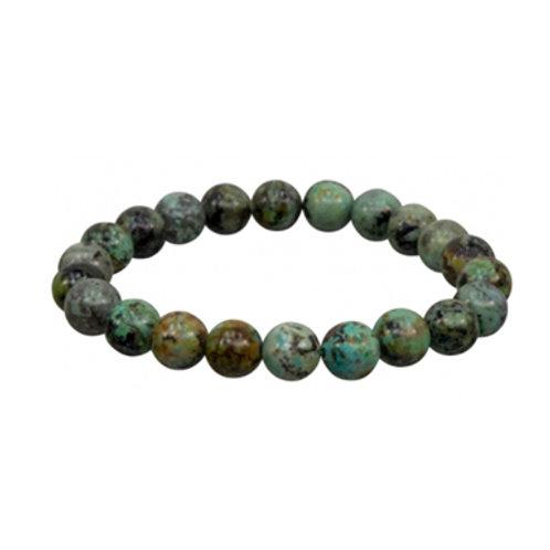 African Turquoise (Round Beads) Elastic Bracelet -Multi Sizes