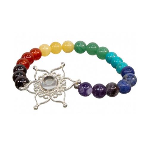 7 Chakras with Lotus Flower Elastic Bracelet, 6mm