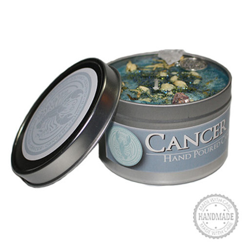 Cancer Zodiac Hand Poured Candle in Tin - 2 Sizes