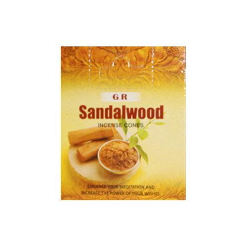 GR Sandalwood Incense Cones, 25g (12 Cones)