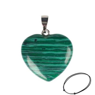 Malachite Heart Pendant Necklace