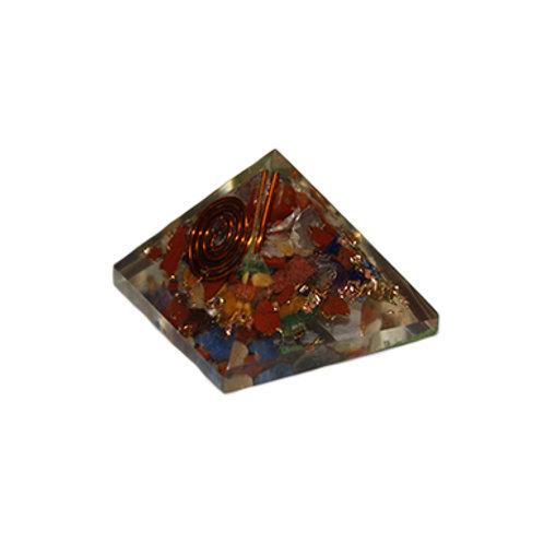 Chakras Orgonite Pyramid w/ Copper Spiral (Small)