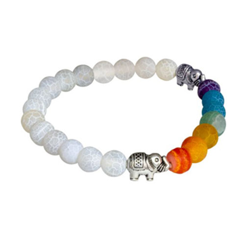 7 Chakras with Crackled Agate (Round Beads) Elastic Bracelet with Elephants, 8mm