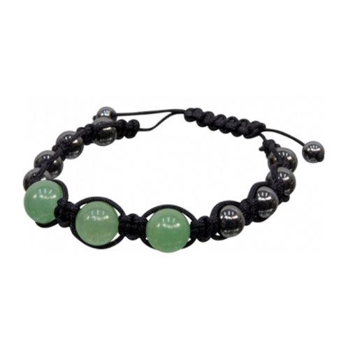 Magnetic Hematite Green Aventurine Adjustable Bracelet, 8mm