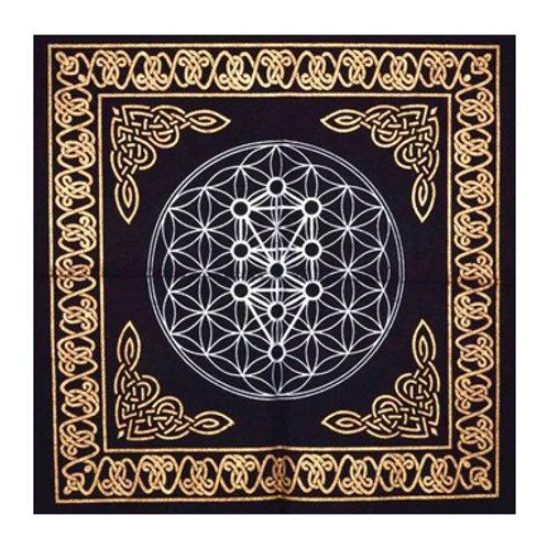 "Geometric Tree of Life Altar Cloth, Gold/Silver on Black 18"" x 18"""