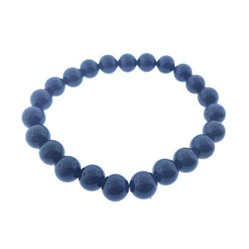 Blue Goldstone (Round Beads) Elastic Bracelet, 8mm