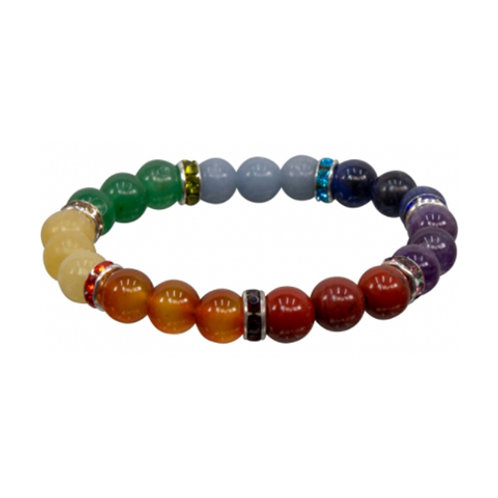 7 Chakras with Roundel Spacers Elastic Bracelet, 8mm