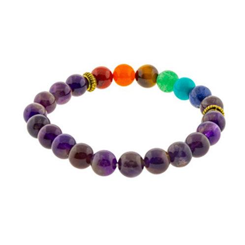 7 Chakras Amethyst (Round Beads) Elastic Bracelet, 8mm