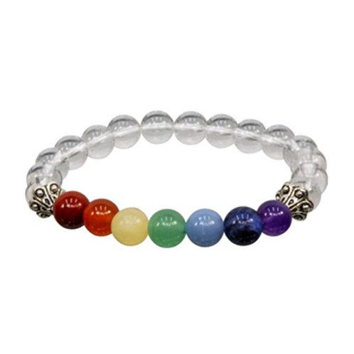 7 Chakras with Clear Quartz (Round Beads) Elastic Bracelet, 8mm