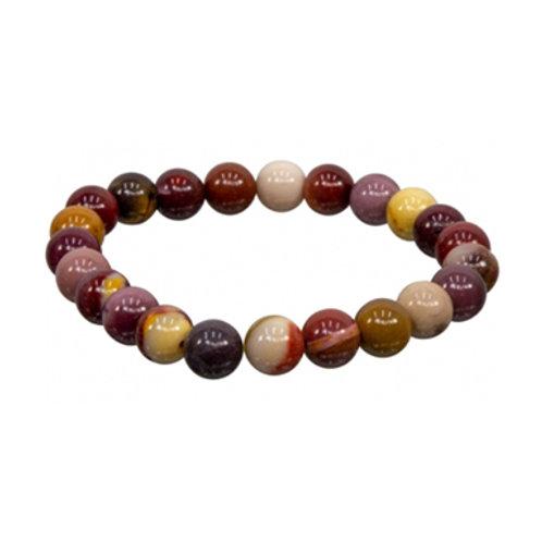 Mookaite (Round Beads) Elastic Bracelet - Multi Sizes