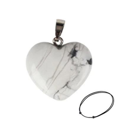 Howlite Heart Pendant Necklace