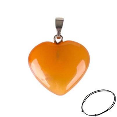 Carnelian Heart Pendant Necklace