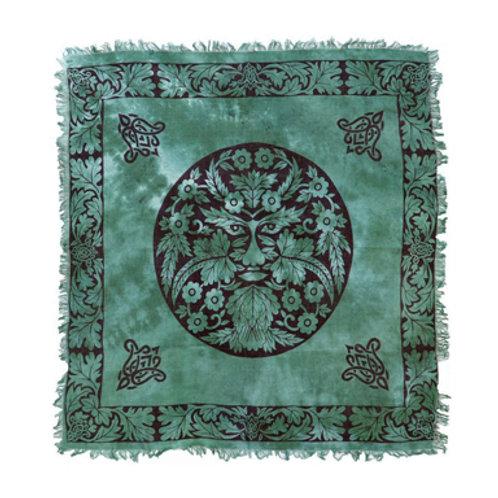 "Green Man Altar Cloth with Fringe, Green/Black 18"" x 18"""