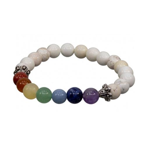 7 Chakras Howlite (Round Beads) Elastic Bracelet, 8mm