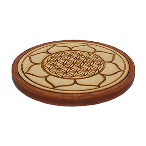 Lotus Flower of Life Wooden Charger Plate