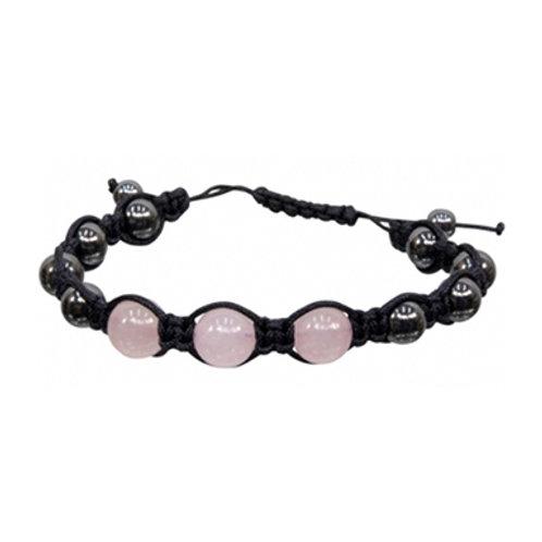 Magnetic Hematite Rose Quartz Adjustable Bracelet, 8mm