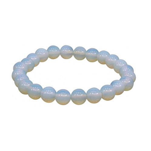 Opalite (Round Beads) Elastic Bracelet - Multi Sizes