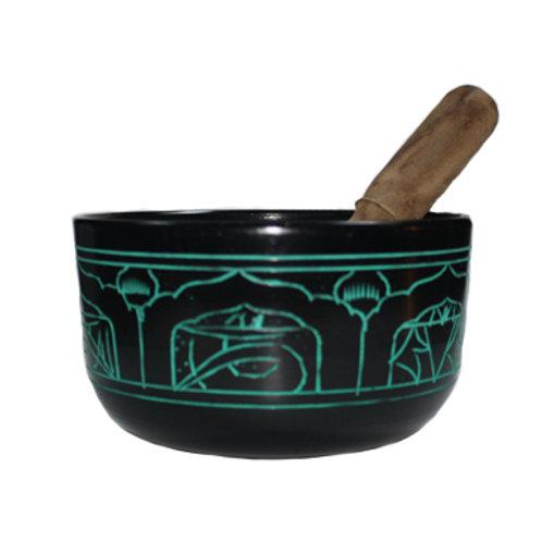 Flat Side Dhyani Buddha Singing Bowl (Natural Green)