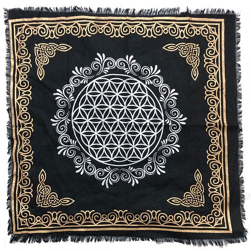 """Flower of Life Altar Cloth with Fringe, Gold/Silver on Black 18"""" x 18"""""""