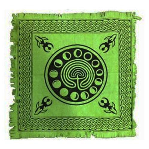 "Moon Phase Altar Cloth, Green/Black 18"" x 18"""