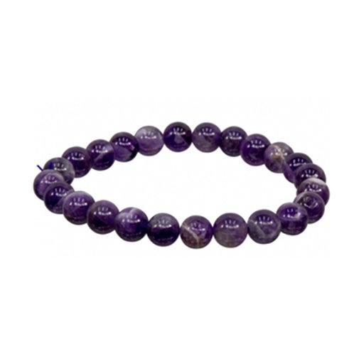 Chevron Amethyst (Round Beads) Elastic Bracelet, 8mm