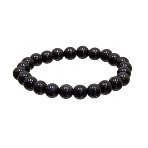 Goldsheen Obsidian (Round Beads) Elastic Bracelet, 8mm