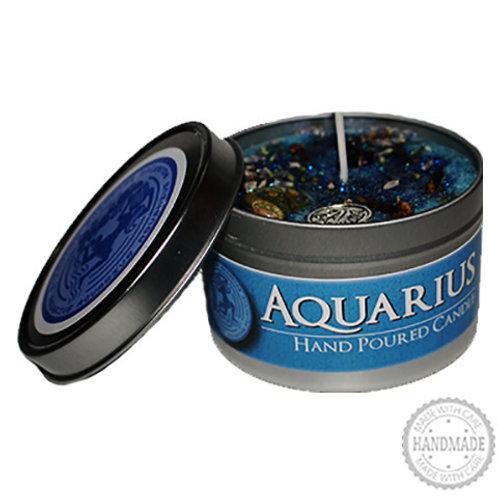 Aquarius Zodiac Hand Poured Candle in Tin - 2 Sizes
