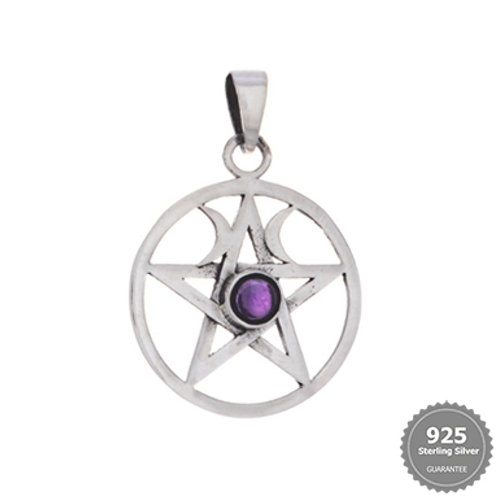 Double Moon Pentacle with Amethyst Stone Silver Pendant