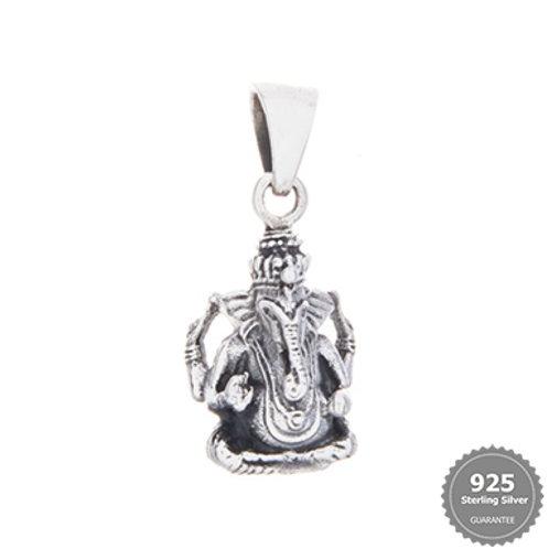 Ganesha in Lotus Position Silver Pendant