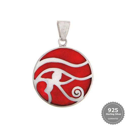 Eye of Horus Coral & Silver Pendant
