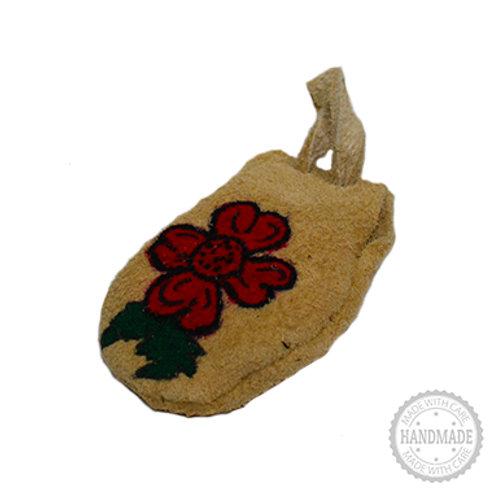 Flower Suede Leather Medicine Bag