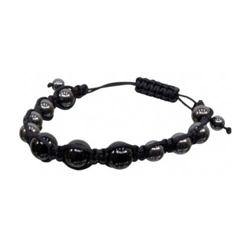 Magnetic Hematite Black Onyx Adjustable Bracelet, 8mm