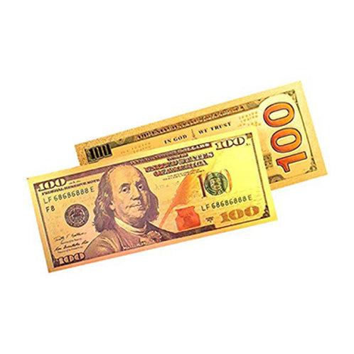 Golden One Hundred Dollar Bill