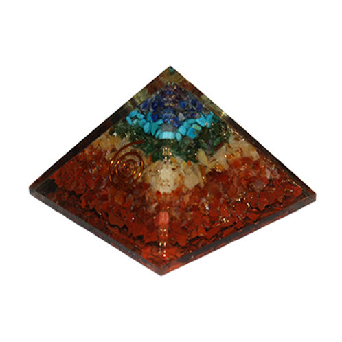 Chakras Orgonite Pyramid w/ Copper Spiral