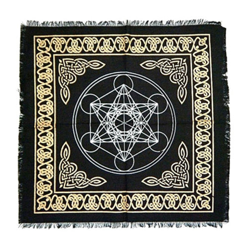 """Metatron Cube Altar Cloth with Fringe, Gold/Silver on Black 18"""" x 18"""""""