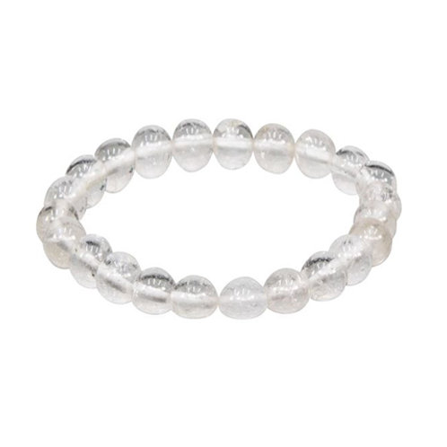 Natural Crystal (Round Beads) Elastic Bracelet, 8mm