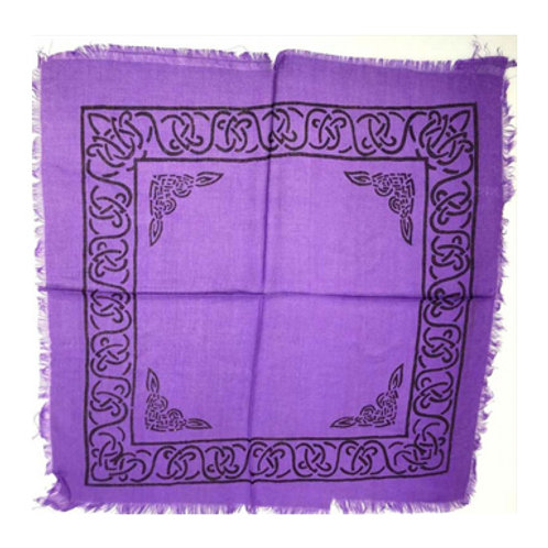 "Celtic Border Altar Cloth, Purple/Black 18"" x 18"""