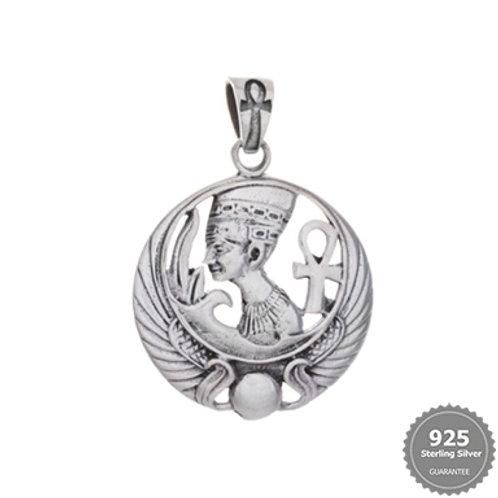 Nefertiti/Ankh Silver Pendant