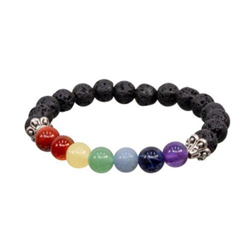 7 Chakras Lava (Round Beads Elastic Bracelet, 8mm