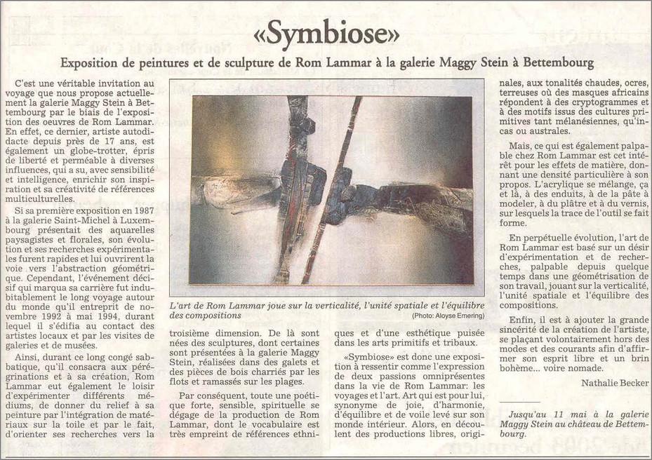 """Critiques de l'expo """"Symbiose"""" dans le """"Luxemburger Wort"""", par Nathalie Beck"""